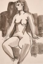"""Mary Krishna, A study of a nude female figure, pastel, signed in pencil, 9"""" x 5.5"""", along with an"""