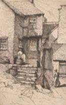 """Maud Sharp, 'The Smugglers Cottage, Polperro', etching, signed and inscribed, 7.5"""" x 5"""", along"""