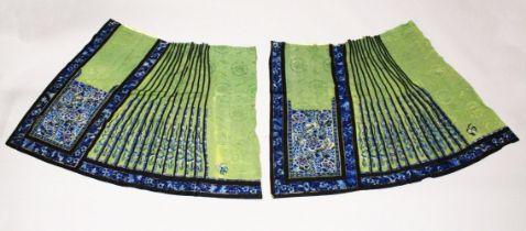 TWO CHINESE EMBROIDERED SILK SKIRT / ROBE PANELS, finely embroidered with flowers and butterflies,