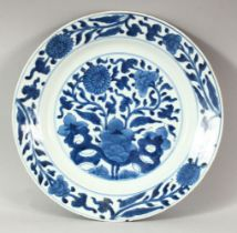 A CHINESE BLUE AND WHITE PORCELAIN DISH, decorated with flowers, 26.5cm diameter.