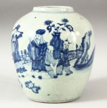 A CHINESE BLUE AND WHITE GINGER JAR, decorated with a sage and other figures in a landscape setting,