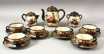 A JAPANESE SATSUMA TEA SET, comprising of one teapot and cover, milk jug and cover, sugar pot and