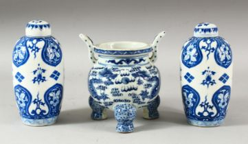 A CHINESE BLUE AND WHITE PORCELAIN TRIPOD CENSER, decorated with two dragons and the flaming pearl