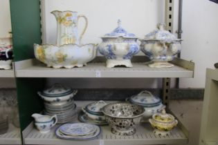 A floral decorated jug and bowl set, blue and white tureens and other similar china.