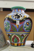 A continental pottery vase.