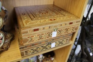 A pair of eastern inlaid jewellery boxes.