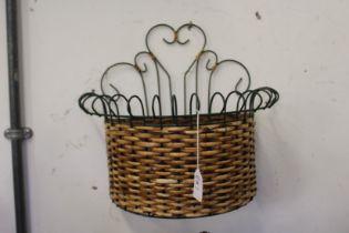 A wall hanging basket.