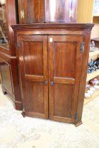 A 19th century mahogany two door hanging corner cabinet.