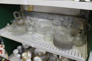A Daum, Nancy engraved and gilt decorated jug (AF) together with other glassware.