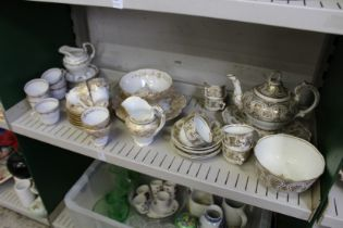 19th century part tea services with gilt decoration.