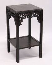 A GOOD CHINESE REDWOOD SQUARE TOP STAND with cross banded top and under tier. 1ft 5ins square, 2ft