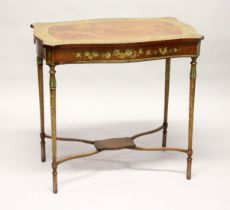 A GOOD EDWARDIAN SATINWOOD AND PAINTED OCCASIONAL TABLE of serpentine outline, the border, frieze