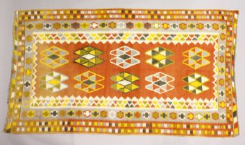 A PERSIAN KELIM CAPET, orange ground with typical geometric decoration 7ft 9ins x 4ft 5ins