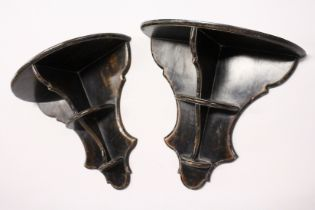 A PAIR OF 20TH CENTURY LACQUERED PAINTED WALL SHELVES / BRACKETS, of shaped outline. 1ft 11ins