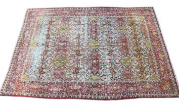 A GOOD LARGE PERSIAN ISFAHAN CARPET, blue ground with all over floral decoration. 14ft 9ins x 10ft