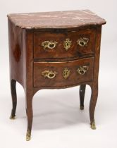 AN 18TH CENTURY FRENCH KINGWOOD, ORMOLU AND MARBLE TWO DRAWER SERPENTINE PETIT COMMODE, the shaped