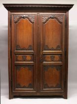 A GOOD LARGE 19TH CENTURY FRENCH OAK TWO DOOR ARMOIRE, with a dentil moulded cornice, a pair of