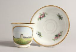 A 19TH CENTURY COPENHAGEN B. & G. CUP AND SAUCER with a landscape with deer. Mark B&G.