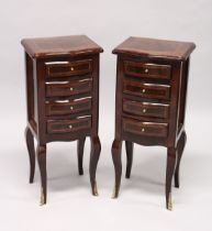 A PAIR OF FRENCH STYLE, MAHOGANY AND BURR WOOD FOUR DRAWER, SERPENTINE FRONTED BEDSIDE CHESTS on