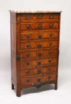 AGOOD 18TH / 19TH CENTURY FRENCH KINGWOOD AND MARBLE TALL CHEST, with a variagated rouge marble top,