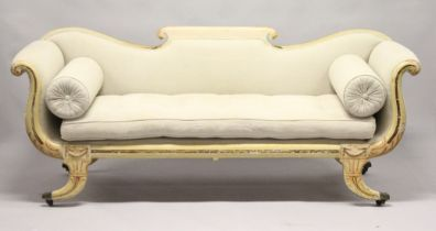 A VERY GOOD REGENCY CREAM PAINTED DOUBLE SCROLLING END SETTEE with padded upholstery and loose
