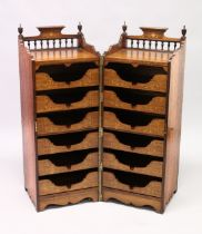 A RARE 19TH CENTURY ROSEWOOD INLAID FOLDING CAMPAIGN CUPBOARD