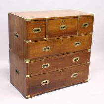 A GOOD 19TH CENTURY TWO PIECE MILITARY CHEST with secretaire drawer, two short and three long