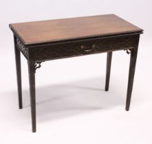 A GOOD GEORGE III MAHOGANY RECTANGULAR FOLDING TOP TEA TABLE with blind fret, curving and single