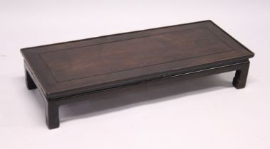 A GOOD CHINESE REDWOOD RECTANGULAR TOP OPIUM TABLE with cross banded top. 3ft 4ins long, 1ft 4ins