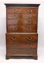 A GOOD GEORGE III MAHOGANY TALLBOY, with blind fret frieze, the top with two short and three long