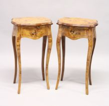 A PAIR OF FRENCH STYLE BURR WOOD SINGLE DRAWER BEDSIDE TABLES on cabriole legs 1ft 5.5ins wide x