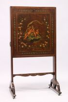 AN 18TH CENTURY SHERATON DESIGN MAHOGANY WRITING DESK with folding flaps, painted with flowers and