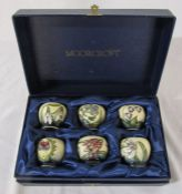 Moorcroft boxed set of 6 egg cups from 2001 featuring spring flowers