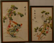 2 Japanese silk tapestries, largest 70cm by 47cm