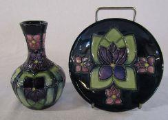 Moorcroft violet pattern vase H 10 cm and boxed pin dish