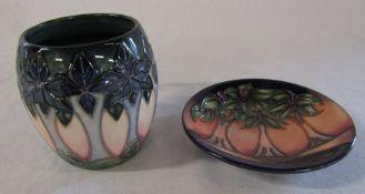 Moorcroft 'cluny' pattern mug and palm trees pin dish