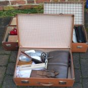 3 vintage suitcases containing silver plate, handbags etc