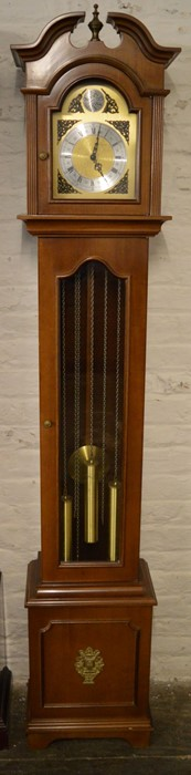 20th century German weight driven longcase clock with Westminster chime Ht 196cm W 36cm