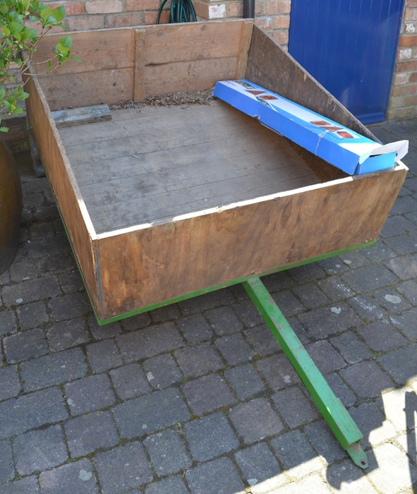 """Wooden garden trailer 45"""" by 49.5"""" for a ride on mower/small tractor, Ring lighting board and"""