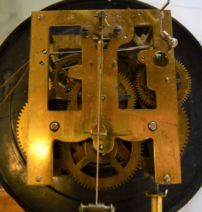 Vienna regulator wall clock with 2 train spring driven movement with butterfly decorated dial & an - Image 4 of 6
