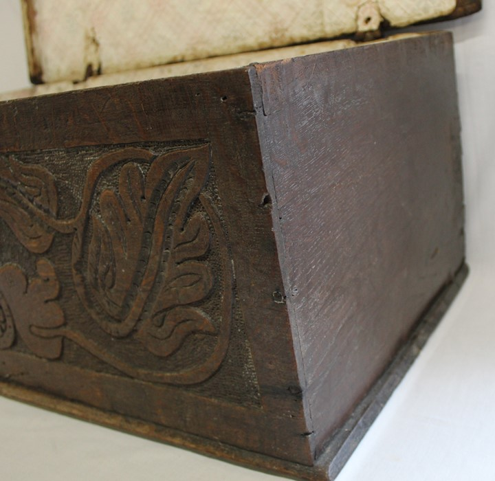 Antique oak bible box with carved front panel and later lined interior, width 71cm, height 28cm, - Image 3 of 4