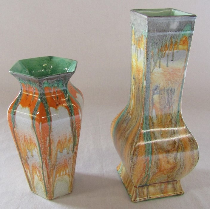 2 Shelley drip ware vases H 24 cm and 18 cm - Image 3 of 5
