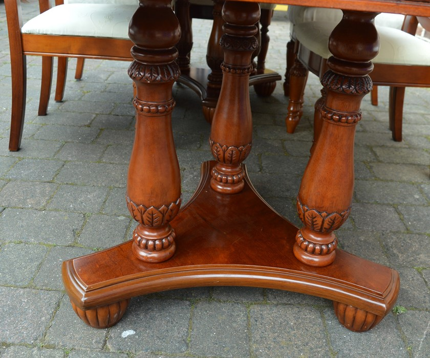 Mixed wood veneer twin pedestal dining table with single removable leaf and 8 chairs extending to - Image 5 of 5