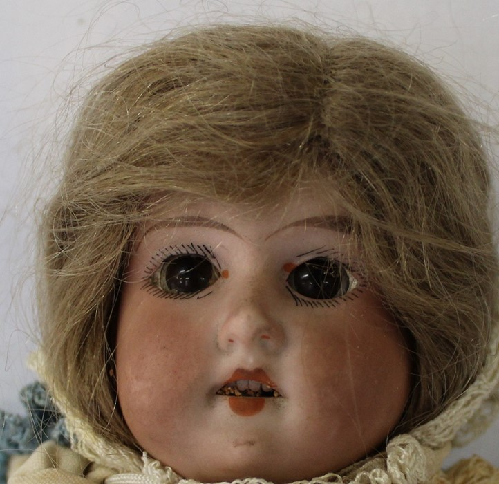 Armand Marseille bisque head doll marked AM-8 with kid leather body, bisque limbs, sleeping eyes, - Image 4 of 9