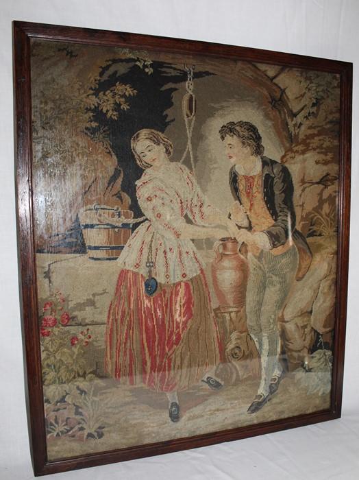 "19th century oak framed needlepoint tapestry ""The Last Appeal"" 59cm x 68cm"