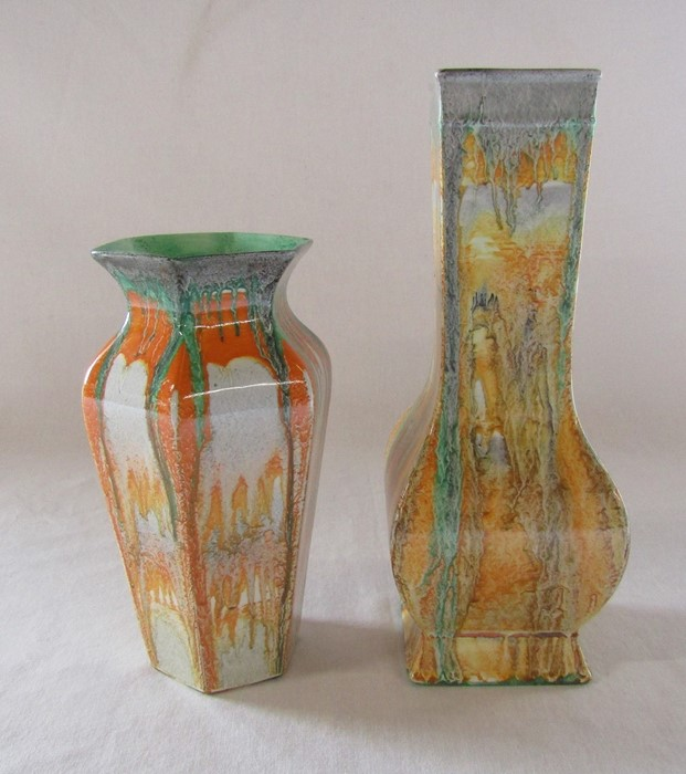 2 Shelley drip ware vases H 24 cm and 18 cm