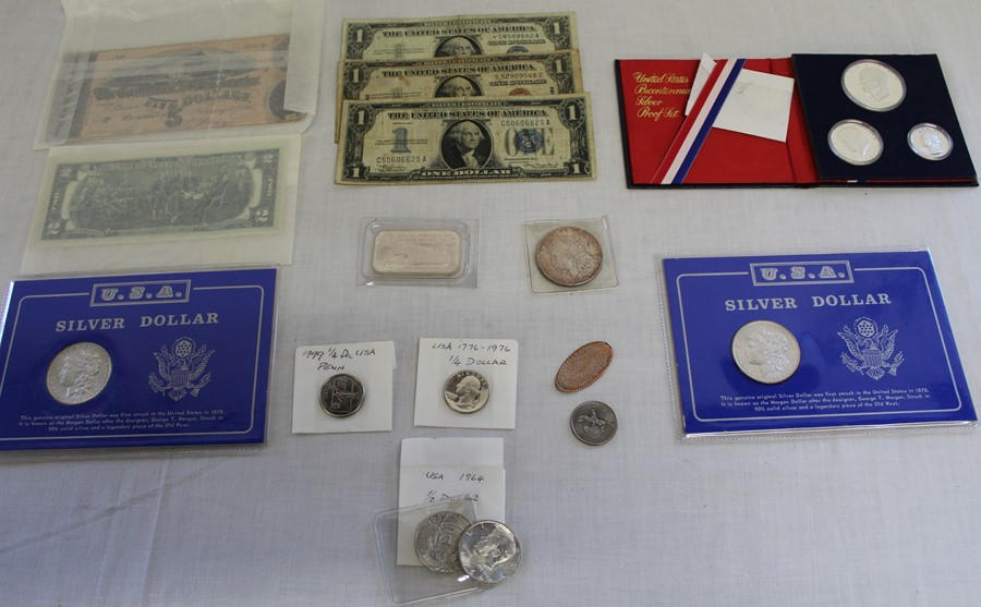 Selection of USA currency including Bicentennial silver proof set 1976, silver dollar coins 1898,