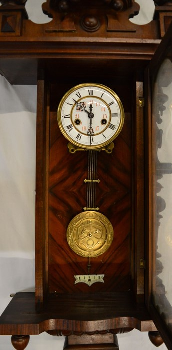 Vienna regulator wall clock with a 2 train spring driven mechanism in a mahogany case flanked by 2 - Image 2 of 3
