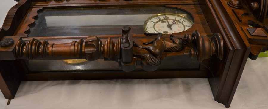 Vienna regulator wall clock with a 2 train spring driven mechanism in a mahogany case flanked by 2 - Image 3 of 3