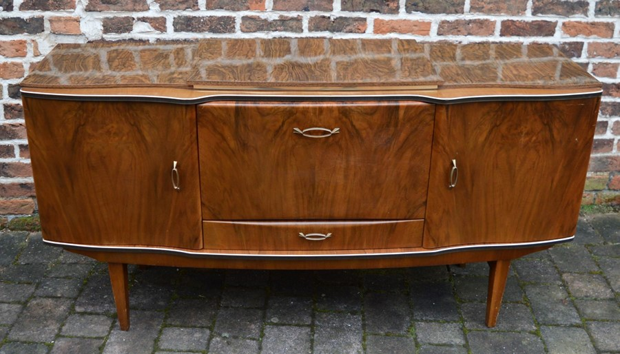 Mid 20th century Beautility sideboard with integral cutlery canteen L 161cm D 52cm H 85cm